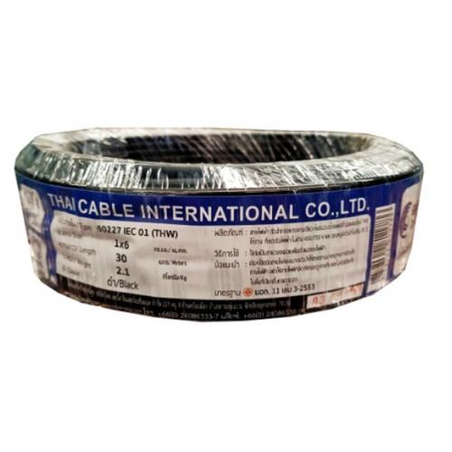Global Cable สายไฟ THW  IEC01 1x6 30เมตร สีดำ