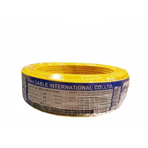 Global Cable สายไฟ THW  IEC01 1x6 30เมตร  สีเหลือง