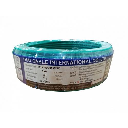 Global Cable  สายไฟ THW  IEC01 THW 1x6 30เมตร สีเขียว