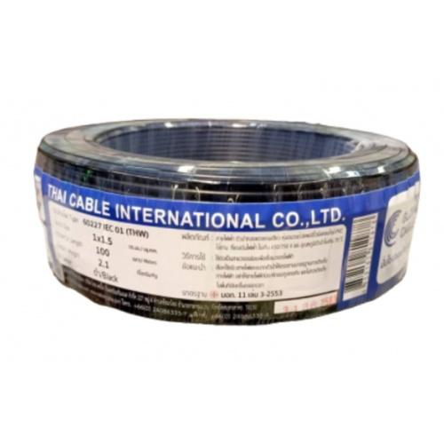 Global Cable  สายไฟ  THW IEC01 1x1.5 100เมตร สีดำ