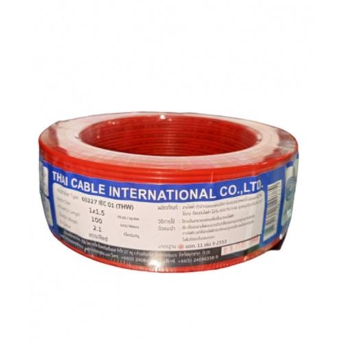 Global Cable สายไฟ THW IEC01 1x1.5 100เมตร  สีแดง