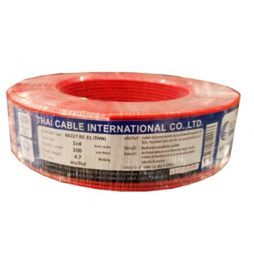 Global Cable  สายไฟ THW  IEC01 1x4 100M  สีแดง