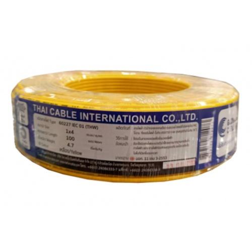 Global Cable  สายไฟ  THW IEC01 1x4 100เมตร สีเหลือง