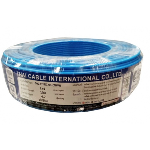 Global Cable สายไฟ THW  IEC01 1x4 100เมตร  สีน้ำเงิน