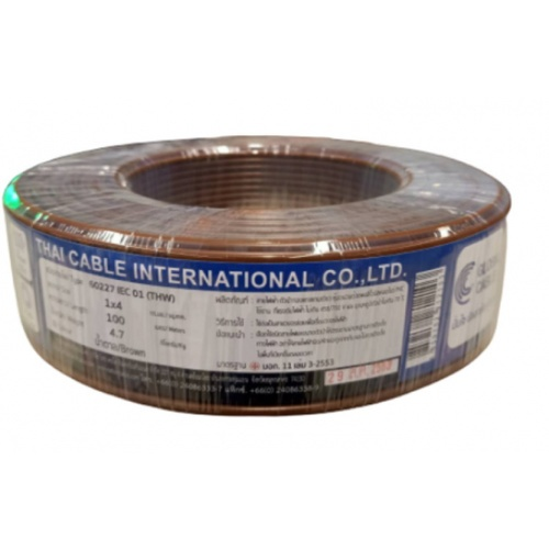 Global Cable สายไฟ THW  IEC01 1x4 100เมตร  สีน้ำตาล