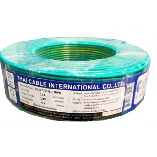 Global Cable  สายไฟ  THW IEC01 1x4 100เมตร สีเขียวแถบเหลือง
