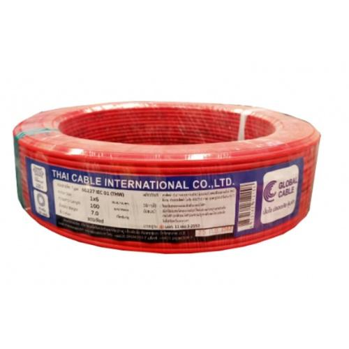 Global Cable สายไฟ THW  IEC01 1x6 100เมตร  สีแดง
