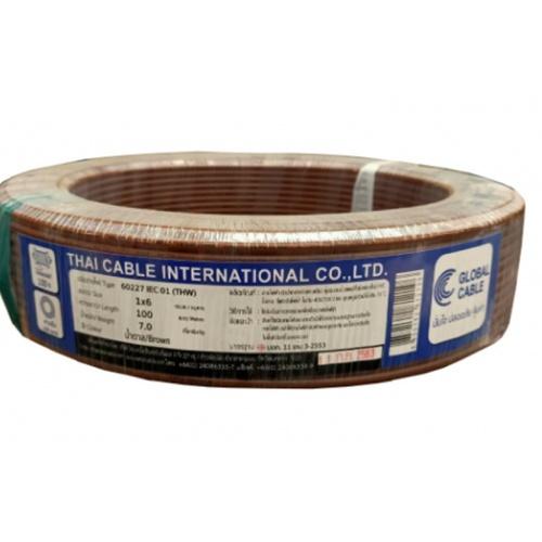 Global Cable  สายไฟ THW  IEC01 1x6 100เมตร  สีน้ำตาล