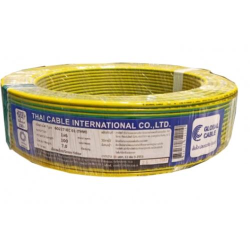 Global Cable สายไฟ THW  IEC01 1x6 100เมตร สีเขียวแถบเหลือง