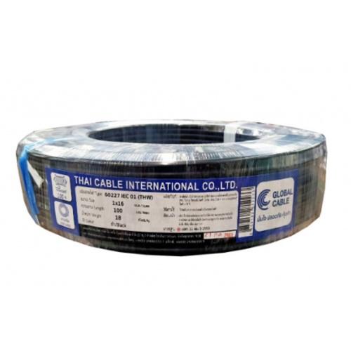 Global Cable  สายไฟ THW  IEC01 1x16 SQ.MM  สีดำ