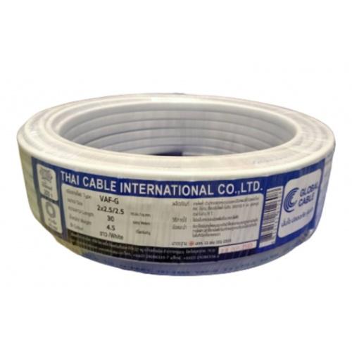 Global Cable สายไฟ  VAF-G 2x2.5/2.5 30เมตร สีขาว