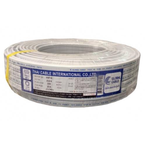 Global Cable สายไฟ  VAF-GRD 2x4/4 SQ.MM 100M สีขาว