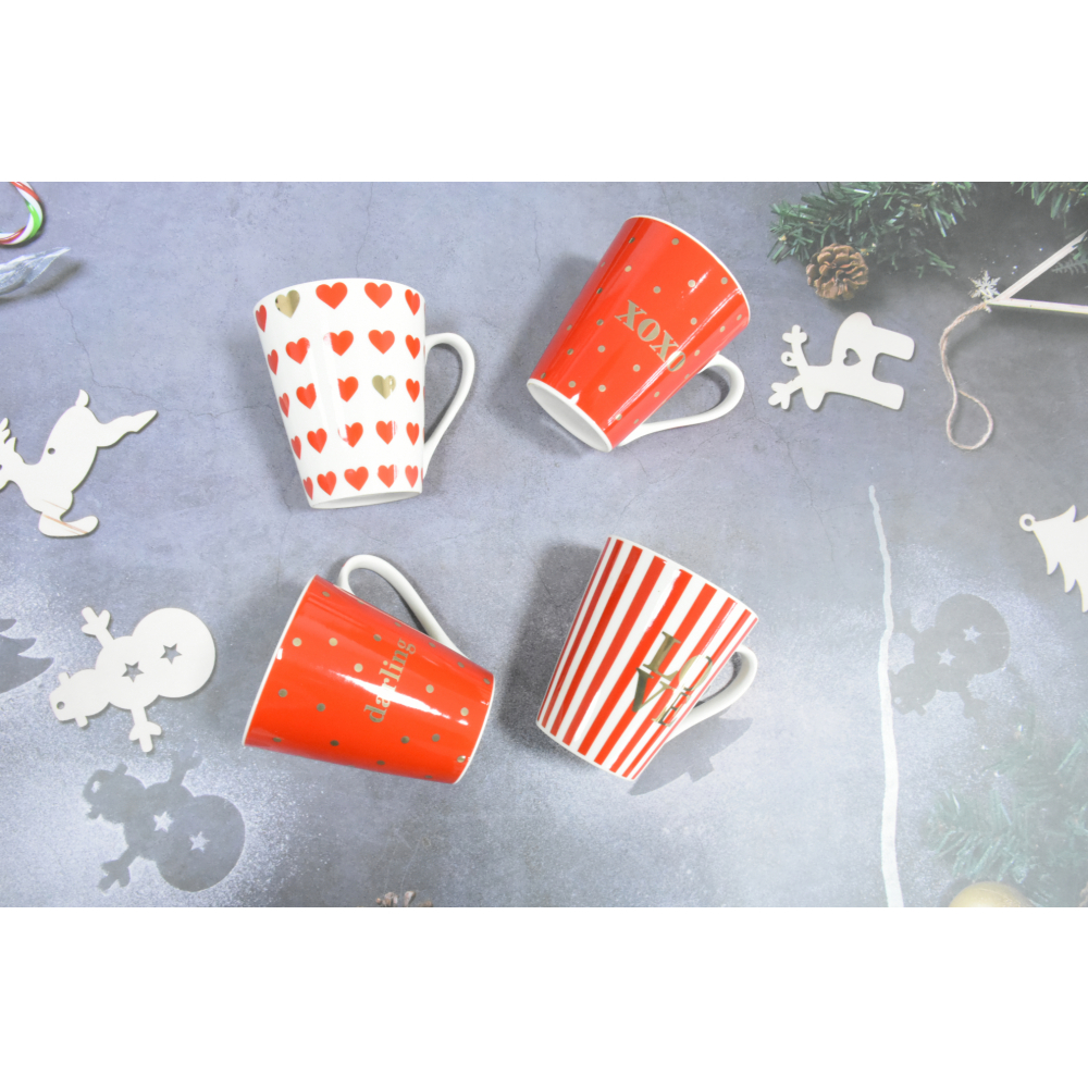 KUP แก้วเซรามิค 12ซม. คละลาย  LOVE-01 คละสี
