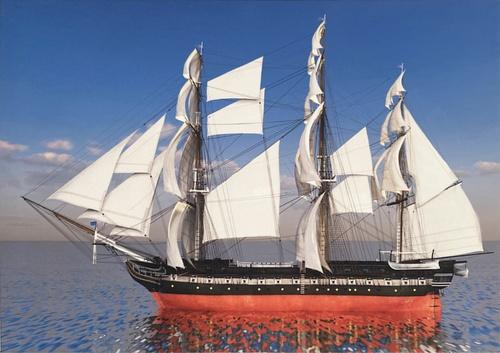 NICE รูปภาพพิมพ์ผ้าใบ ขนาด 50x70ซม. เรือสำเภาขนทองคำ  Fengshui C7050-27
