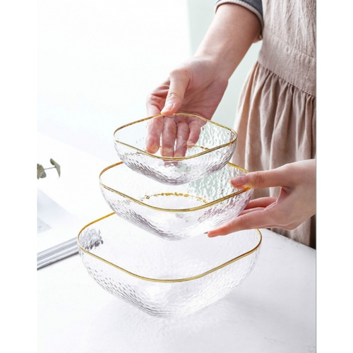 ADAMAS ถ้วยแก้วทรงเหลี่ยมขอบทองขนาด 5นิ้ว Jorina-G