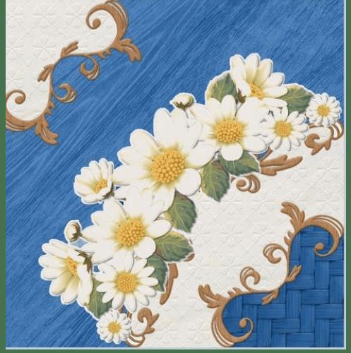 Sosuco 12X12 มงกุฏดอกไม้-น้ำเงิน (11P) A. Floor Tiles