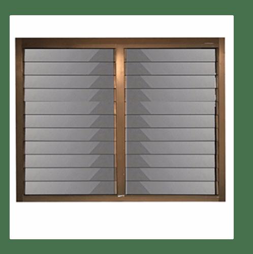 -  หน้าต่างอลูมิเนียมบานเกล็ด  ขนาด 60x100 (2บาน) สีชา