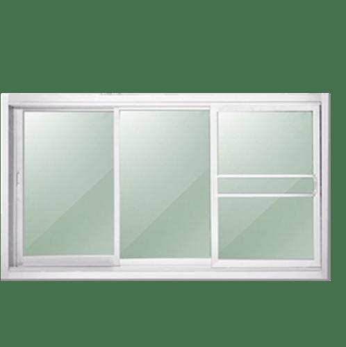 -  หน้าต่างอะลูมิเนียมบานเลื่อน   SFS 180x108ซม. พร้อมมุ้ง สีขาว