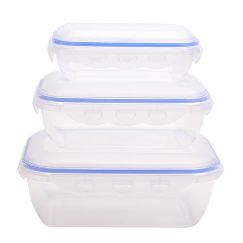 GOME  ชุดกล่องถนอมอาหารพลาสติกทรงเหลี่ยม  EYYZ12 580ML/1300ML/2500ML 3 ชิ้น/แพ็ค  สีน้ำเงิน