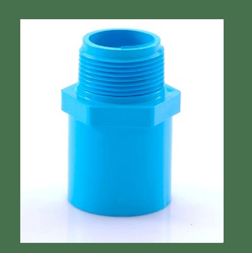 AAA ข้อต่อตรงเกลียวนอก  หนา 4นิ้ว (100) ชั้น 13.5  สีฟ้า