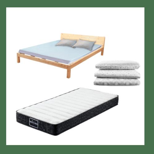 Truffle ชุดเตียงไม้สน 6ฟุต  แถมที่นอน พร้อมชุดเครื่องนอน 4ชิ้น