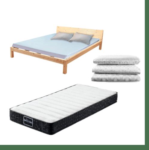 Truffle ชุดเตียงไม้สน 5ฟุต  แถมที่นอน พร้อมชุดเครื่องนอน 3ชิ้น