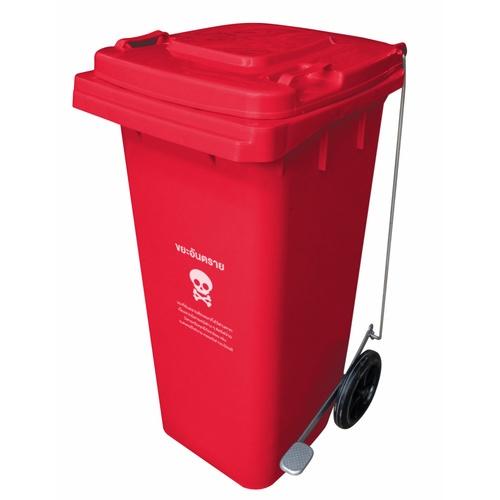 ICLEAN ถังขยะเทศบาลฝาเรียบ มีที่เหยียบทรงเหลี่ยม ขนาด 120 ลิตร  ขนาด 55x46x93 ซม. TG51804T-RE สีแดง