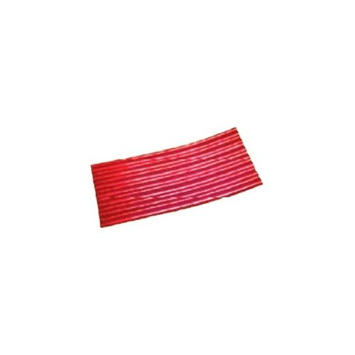 โอฬาร กระเบื้องปลายงอน-ขวา 0.4x54x120 ซม.  ลอนเล็ก สีแดงประกายทับทิม (ลูกโลก)