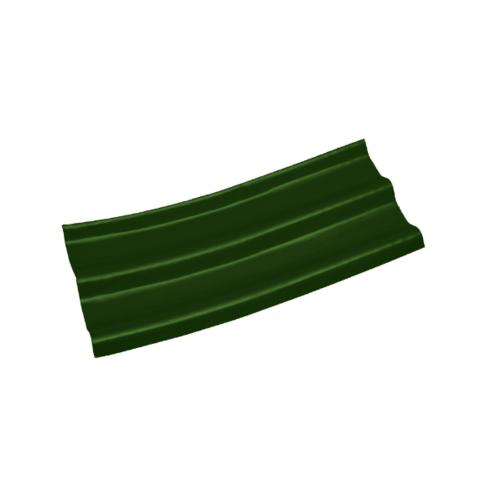 โอฬาร กระเบื้องปลายงอน-ซ้าย  5 มม. 50*120 ซม.  ลอนคู่ สีเขียวหยก