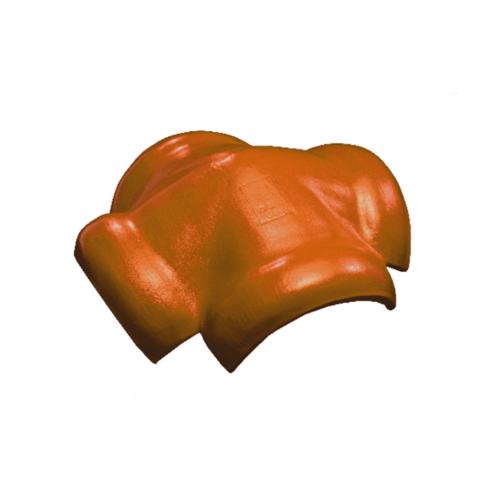 โอฬาร ครอบสันโค้งคู่ 4 ทาง ใยหิน (ลูกโลก) สีประกายทองแดง ลอนคู่