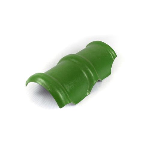 โอฬาร ครอบสันโค้งคู่ ใยหิน (ลูกโลก) สีเขียวหยก ลอนคู่ สีเขียว