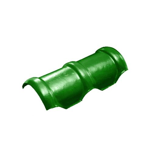 โอฬาร ครอบสันโค้งคู่ 2 ทาง ใยหิน (ลูกโลก) สีเขียวหยก ลอนคู่