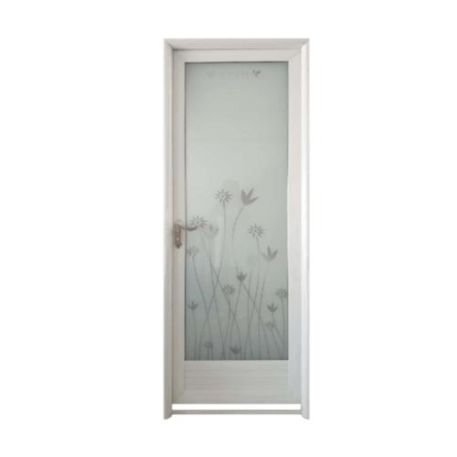 Wellingtan ประตูอลูมิเนียม ลายดอกไม้สีเทา (เปิดซ้าย) ขนาด 70x200ซม.  ALD-LS9434L สีขาว