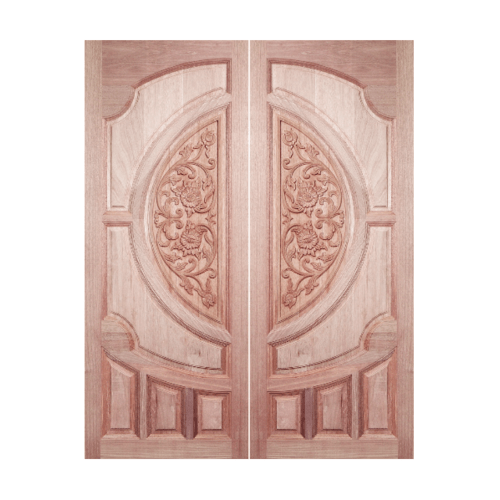 BEST ประตูไม้สยาแดง บานทึบลูกฟักแกะลาย ขนาด 80x230ซม.  GC-08