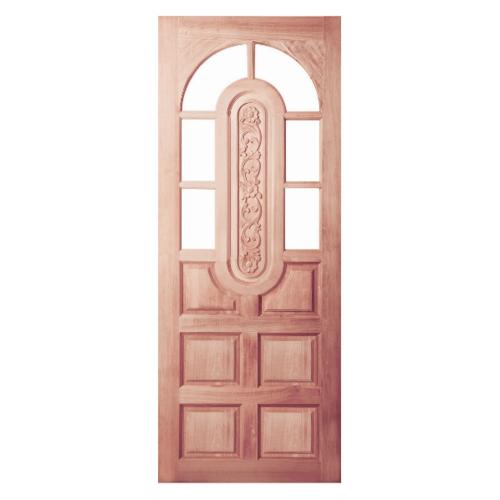 BEST ประตูไม้สยาแดง ลูกฟักพร้อมช่องกระจก 6ช่องบน(โปร่ง)  90x200ซม. GC-73