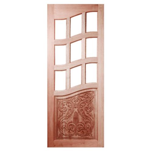 BEST ประตูไม้สยาแดง ทำช่องกระจก(โปร่ง) แกะลาย  100x200ซม. GC-11