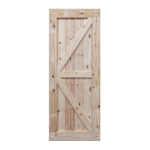 BEST  ประตูไม้สน บานทึบทำร่อง(โรงนา) ขนาด 90x200ซม. GB-01