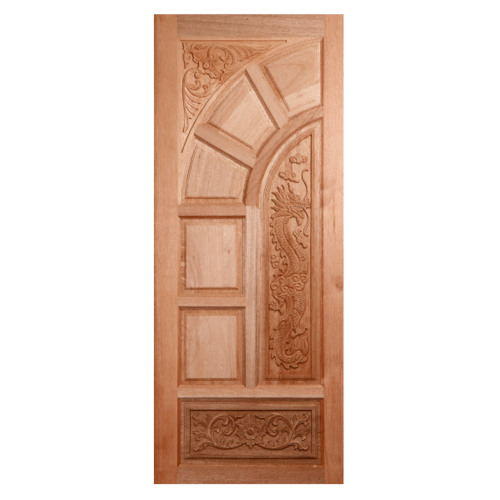 BEST  ประตูไม้สยาแดง บานทึบลูกฟักแกะลาย  90x220ซม. GC-05