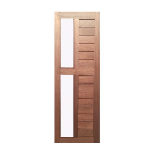 BEST ประตูไม้สยาแดง ทำร่องพร้อมช่องกระจกฝ้า  90x200ซม. GS-57
