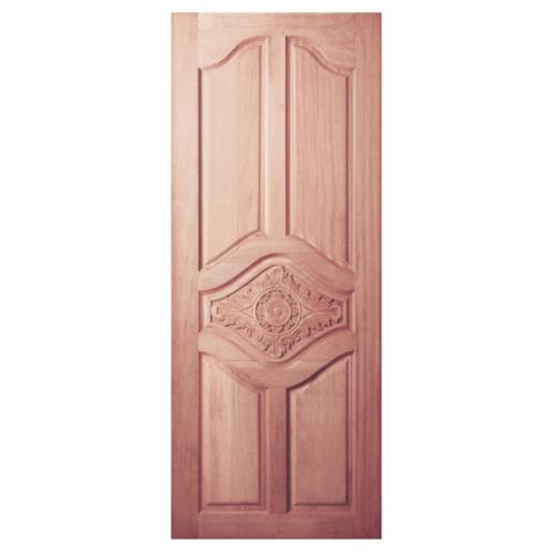 BEST  ประตูไม้สยาแดง บานทึบลูกฟักปีกนกแกะลาย ขนาด 100x202ซม. GC-53