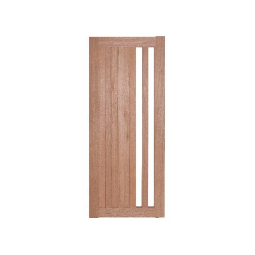 BEST  ประตูไม้สยาแดง ทำช่องพร้อมกระจกใส ขนาด 60x200ซม. (ทำสี) GS-47