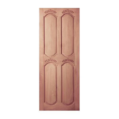 BEST ประตูไม้สยาแดง บานทึบ 4ฟักโค้ง ขนาด 100x200ซม. GC-50