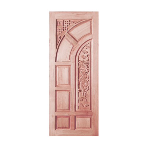 BEST สพ.ประตูไม้สยาแดงบานทึบลูกฟักแกะลาย  ขนาด 80x200 cm. ทำสี GC-03