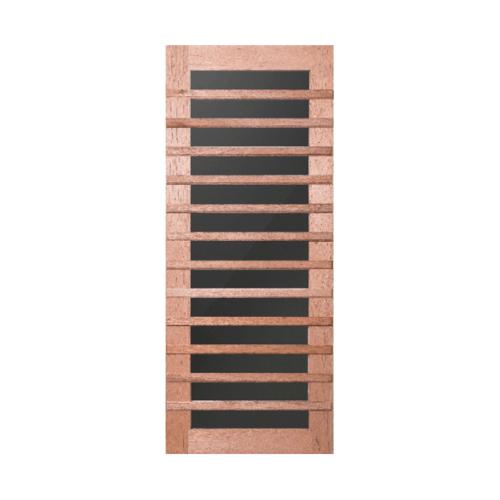 BEST  ประตูไม้สยาแดงพร้อมกระจกชาดำขนาด  90x220ซม. GS-59