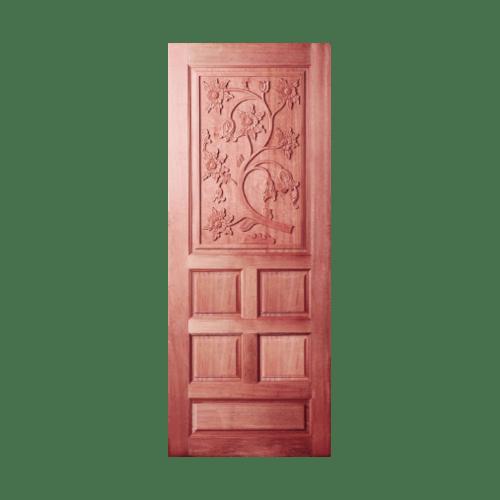 BEST  ประตูไม้สยาแดงบานทึบแกะลาย 70x180ซม. GC-34