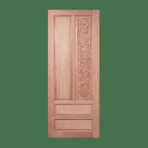 BEST ประตูไม้สยาแดงลูกฟักแกะลาย ขนาด 90x220ซม. GC-14