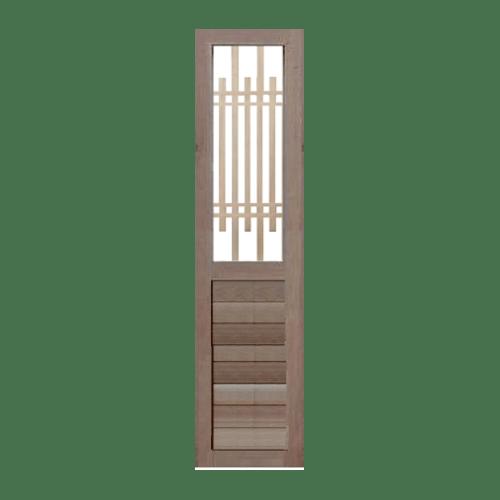 BEST ประตูไม้สยาแดงพร้อมกระจกใส ขนาด 50x200 ซม. GS-65 ทำสี ไม่ระบุสี