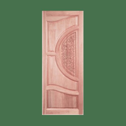 BEST ประตูไม้สยาแดงบานทึบลูกฟักแกะลาย ขนาด 80x220ซม.                       GC-07 ทำสี ไม้ธรรมชาติ
