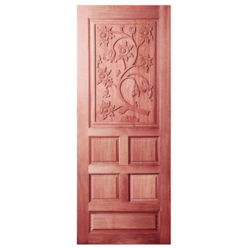 BEST ประตูไม้สยาแดง บานทึบลูกฟักแกะลาย  80x200cm. ทำสี GC-34