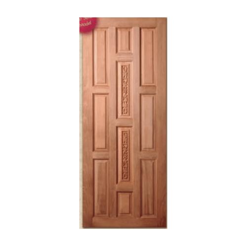 BEST ประตูไม้สยาแดง บานทึบลูกฟักแกะลาย ขนาด 100x200cm.  GC-38